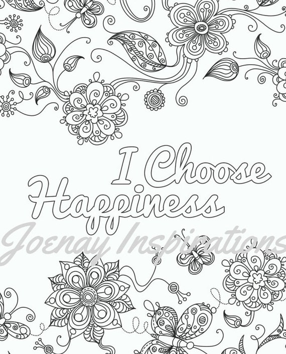 Adult Coloring Book Printable Coloring Pages, Coloring Pages, Coloring Book for Adults Instant Download Inspiration and Affirmation 2 page 2