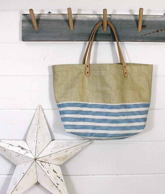 1930s Linen/Ticking Stripe Bag