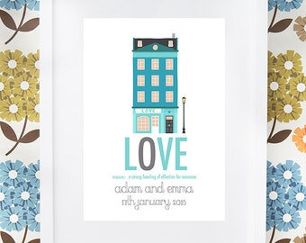 LOVE wedding print gift with definition personalised available framed or unframed