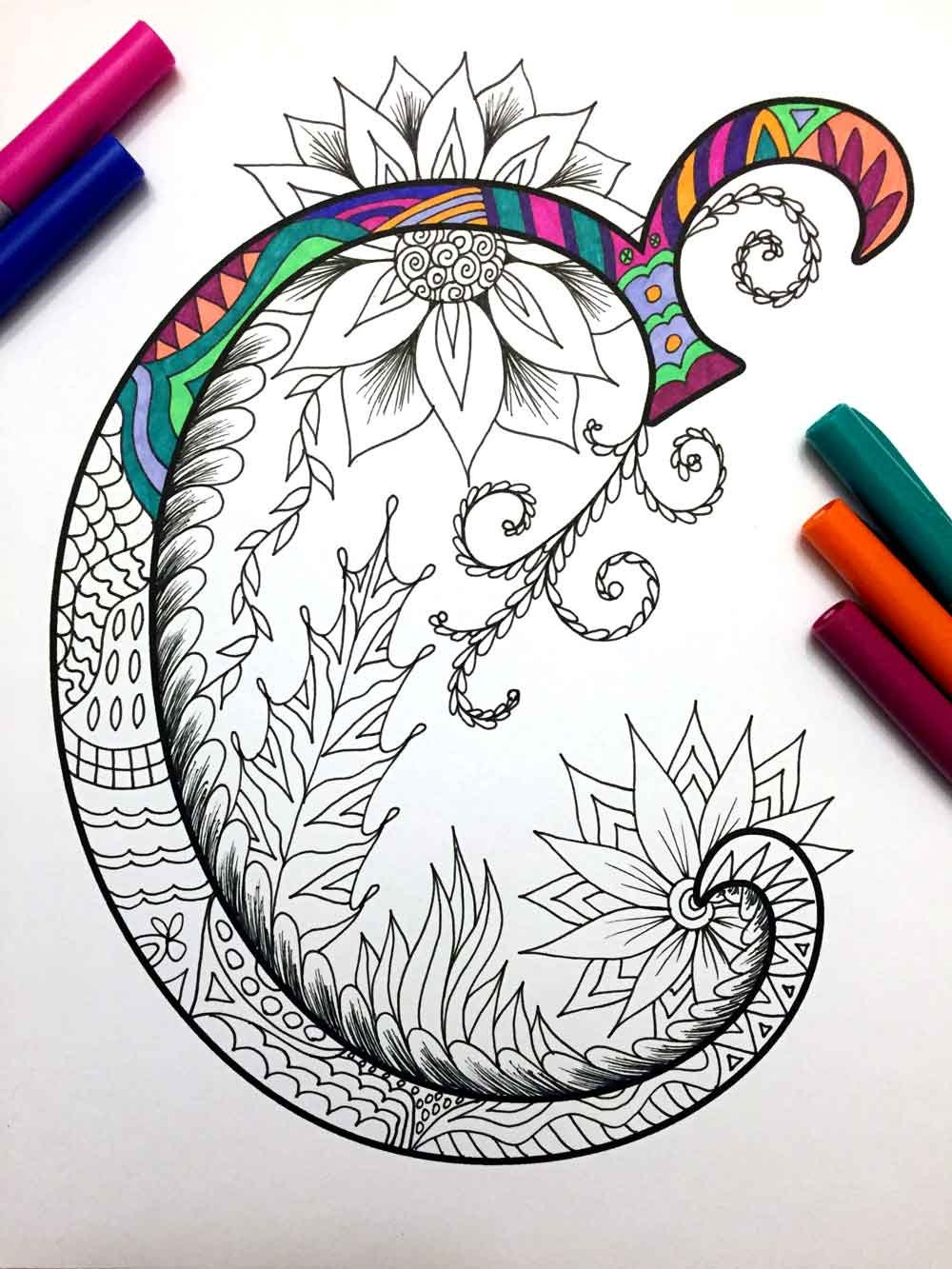 Letter c zentangle inspired by the font for Selling coloring pages on etsy