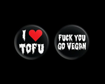 Vegan Button Bundle (I Heart Tofu & Go Vegan) 1.25""