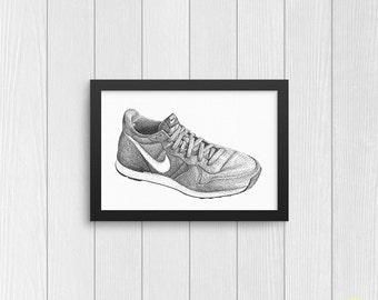 Nike Retro Sneaker Art Print from Original Ink Sketch