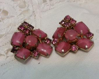 Vintage Pink Rhinestone & Pink Moonstone Clip Earrings