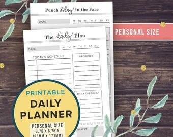 Filofax PERSONAL Inserts: Daily Planner Printable, Kikki K Medium, Filofax Personal, Compact, 3.75 x 6.75, Day Organizer, Daily To Do List