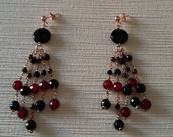 Earrings with onyx and agate