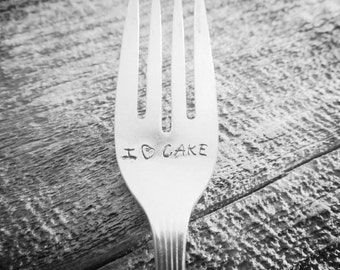 I Love Cake hand stamped fork // engraved silverware // engraved // cake lover // foodie // gift under 15 // Impressions Stamped