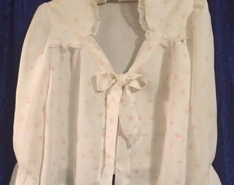 Vintage White & Pink Rosebud Bed Jacket