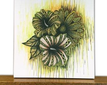 Flower Canvas Art - Flower Wall Art - Home Decor - Virgo - Zodiac Sign - Tribal Art - Drawing - Markers