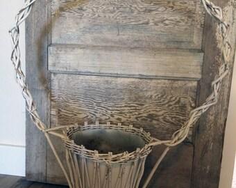 Vintage White Wicker Flower Basket