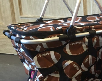Insulated Market Tote, Football print, Personalized Market Tote, Monogrammed Market Tote, Insulated Tote, Personalized Tote, Monogrammed
