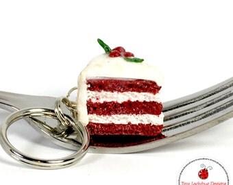 Red Velvet Cake Keychain
