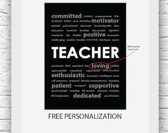 Teacher Gift Ideas, Teacher Gift, Free Personalization, Teacher Print, Teacher Wall Art, Gift for Teacher, Teacher Digital Print