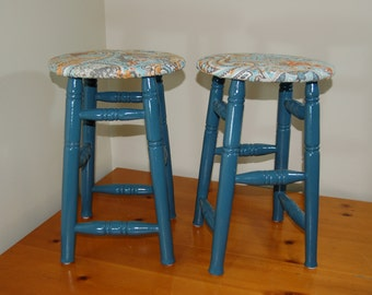 Hand Painted & Upholstered Accent Stools
