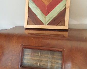 Multi Colored Chevron in Salvaged Barn Wood, Up-cycled, Reclaimed, Rustic, Salvaged Wood