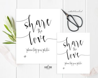 Share the Love Wedding Sign , Modern Social Media Sign , Share the Love Sign , Printable Wedding Sign Modern , 8x10 , 5x7, Instant Download