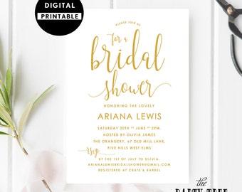 Bridal Shower Invitation , Bridal Shower Invite , Gold Calligraphy Bridal Shower Invite , Printable , 5x7 , A6 , Gold Bridal Shower