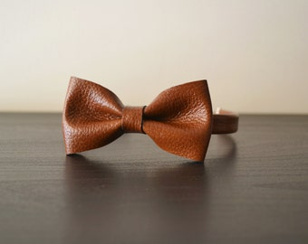 Leather bow tie / Brown leather bowtie / Bow tie for women / Leather bowtie