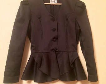 Black peplum jacket 80 s very fifties