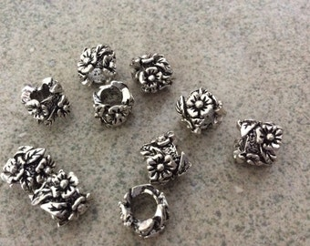 10 pcs flower large hole antique silver European beads