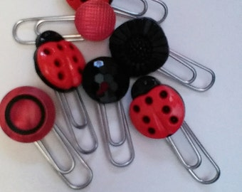 Red ladybugs set of 7 paperclips