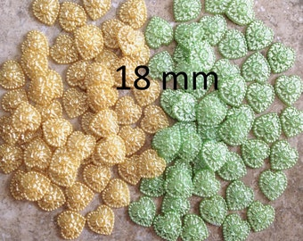 100 Heart Cabochons, 18mm Heart Gems, Flatback Heart Gems, Yellow Hearts, Green Hearts, Scrapbook Embellishments, Craft Supplies