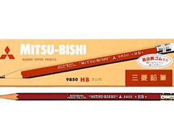Mitsubishi Uni 9850 Pencil with Eraser - HB.