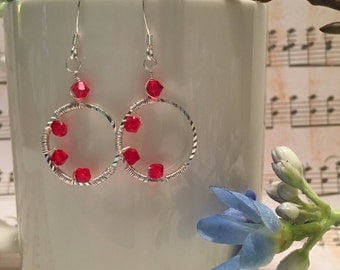 Earrings ~ Red ~ Swarovski crystal ~ Dangle ~ Sterling silver ~ Wire wrapped ~ Hand made ~ Gift boxed