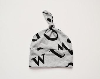 Cotton Knit Knot Hats, Black Tossed Alphabet on Gray Cotton, Newborn Boy Hats