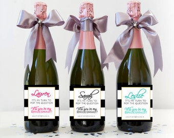 Custom Bridesmaid Proposal Gift - Bridesmaid Champagne Bottle Label - Will You Be My Bridesmaid Gift Idea