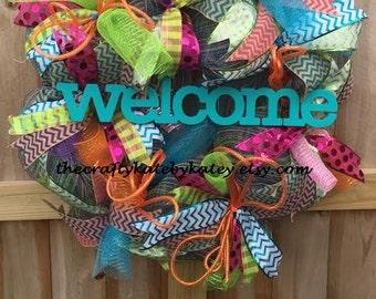 Spring Wreath, Large Spring Wreath, Summer Wreath, Large Summer Wreath, Bright Deco Wreath, XL Wreath
