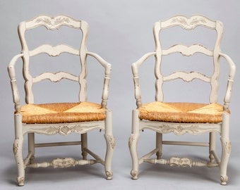 REDUCED Vintage Pair Carved and Painted French Armchairs with Woven Rush Seats [5739]