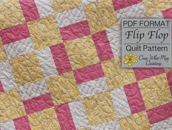 Baby Quilt Pattern Digital Flip Flop Square Beginner Easy From