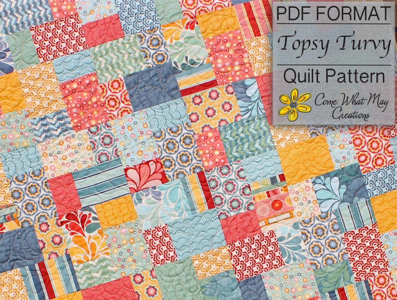 Topsy Turvy Quilt Pattern Lap Quilt Pattern Layer Cake Quilt