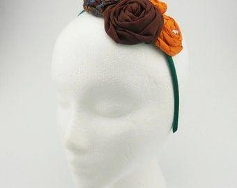 Headband (orange, brown, green, blue, pearl beads)