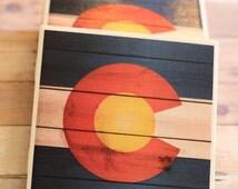 Rustic Colorado Coasters - Colorado Coasters, Colorado Flag Coasters, Colorado Flag, Handmade Coasters, Rustic Coasters, Colorado, Denver