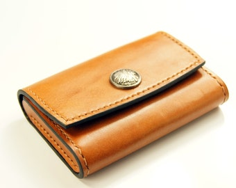 Business card case - leather case / name card holder / coin wallet / small wallet