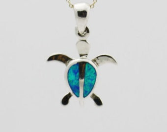 Silver Turtle Necklace, Blue Green Silver Turtle Necklace