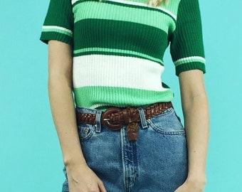 1970's Vintage Striped Mini Mock Neck Sweater Tee