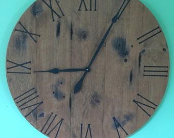 barnwood clock reclaimed wood clock handmade clock large wall clockclock