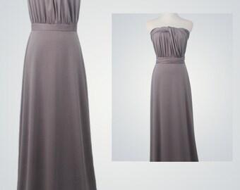 Vintage Prom Dress,Grey Dress,Convertible Bridesmaid Dress, Wrap Dress,Bridesmaid Dress, Prom Dress, Twist Wrap Dress Long