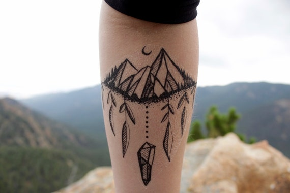 Moon Mountain Forest Temporary Tattoo, Pine Trees, Raw Crystal Crescent Moon, Dangling Leaves, Black Ink Nature Tattoo,