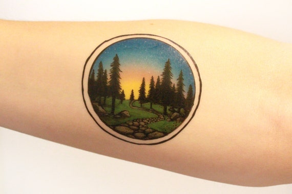 Circle Sunset in Pine Forest Scene Temporary Tattoo, Nature Path Tattoo