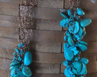 Turquoise and Bronze Crocheted Wire Necklace