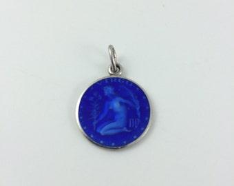 Virgo Blue Enamel Pendant Sterling