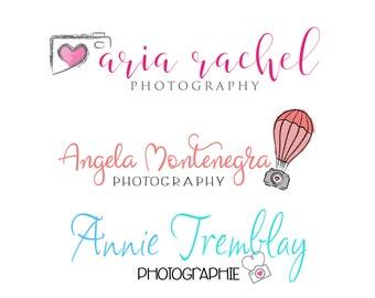 Photography handwritten font Logo & matching Watermark, Modern Minimal style  - customizable premade