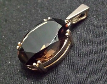 Ladies Handmade 9 Carat Yellow Gold and Smokey Quartz Pendant (p3)