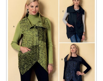 Sewing Pattern for Misses' Collared Vests with Asymmetrical Hems, Butterick Pattern 6381, Plus Sizes Avail, Womens Vest Pattern