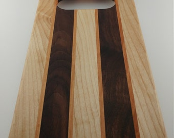 Beautiful Cutting Board with Walnut and Maple Detailed with Cherry Stripes