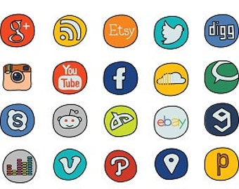 Social Media Doodle - 40 Icons Vector