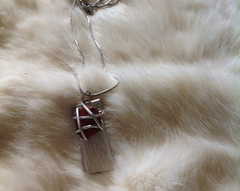 Red Jasper wrapping pendant and SS necklace